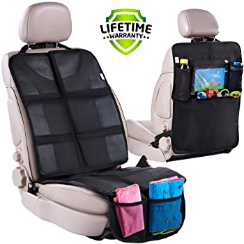 Kick Mats Back Seat Protector with Tablet Holder Organizer and Storage for Car