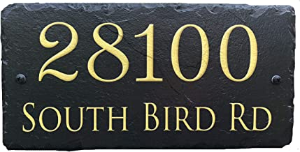 """Sassy Squirrel Beautifully Handcrafted and Customizable Slate Home Address Plaque (18""""x8"""" or 12"""