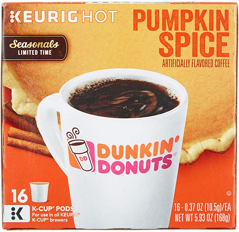 Dunkin Donuts Pumpkin Spice Flavor K Cups For Keurig Coffee Brewers 16 Count