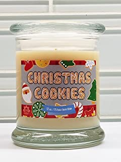 S&M Web Widgets Christmas Cookies Candle - 100% Soy Glass Jar Scented Xmas Candle Box (12oz)
