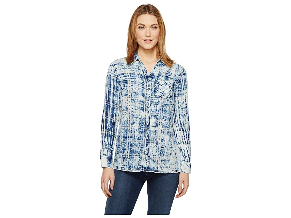 Tribal Cotton Gauze Shirt with Patch Pocket (Indigo) Women
