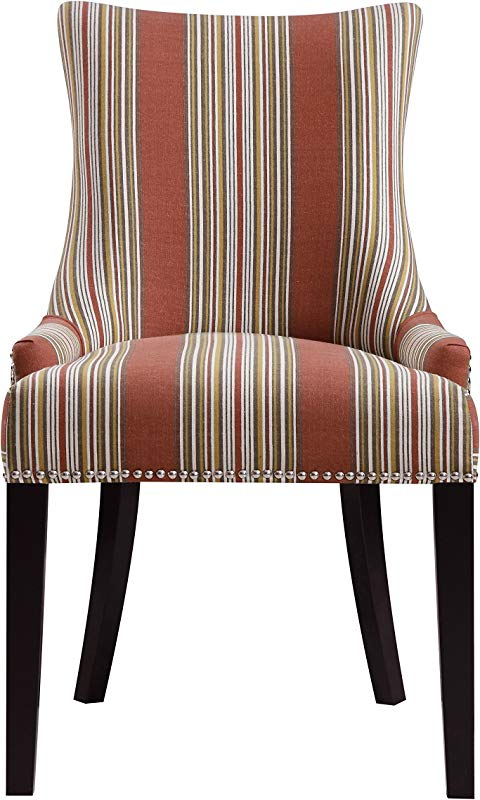 Pulaski Imperial Stripe Upholstered Dining Chair In Bourbon Multicolor