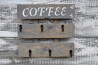 Rustic Pallet Wood Coffee Cup Rack 6 Mug Holder Wall Mounted Kitchen Storage