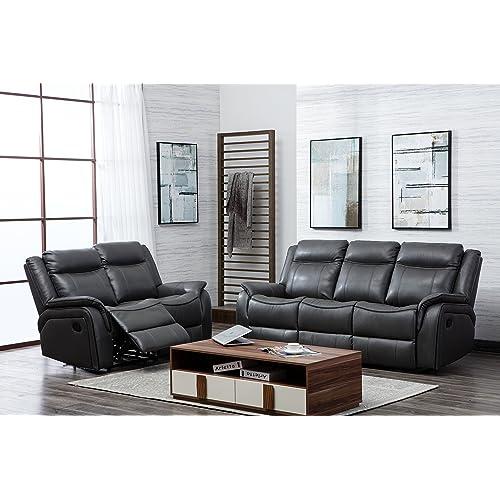 ff3809f9a6 SC Furniture Ltd Grey High Grade Leather Gel Reclining 3 Seater Sofa + 2 Seater  Recliner