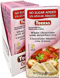 Torras Sugar Free and Gluten Free White Chocolate Bar - Strawberries (10 Pack)
