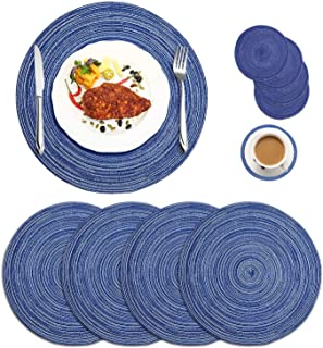 Round Braided Placemats Set of 4, Woven Heat Resistant Washable Kitchen Table Mats with 4 Coasters for Dining Home Wedding...
