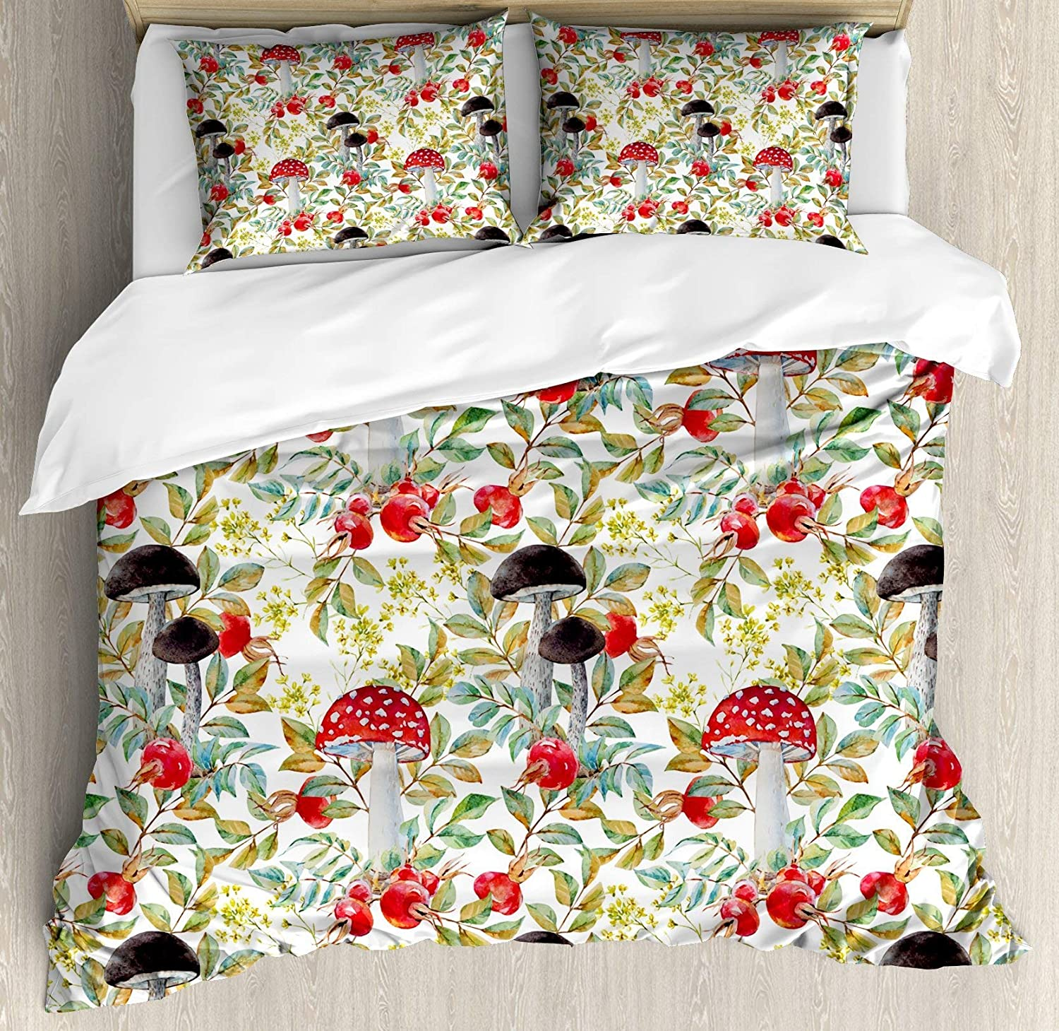 BULING Watercolor 4pc Bedding Set Queen Size, Hand Drawn Dogpink and Mushrooms Autumn Leaves Berries Amantias Nature Inspired Floral Lightweight Microfiber Duvet Cover Set, Multicolor