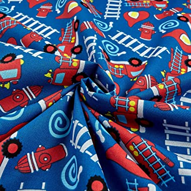 Santee Print Works Kid's Choice Fire Trucks Royal Quilt Fabric by the Yard, Royal