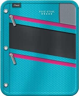 Five Star Pencil Pouch, Pen Case, Fits 3 Ring Binder, Zipper Pouch, Teal/Pink (50642CN8)