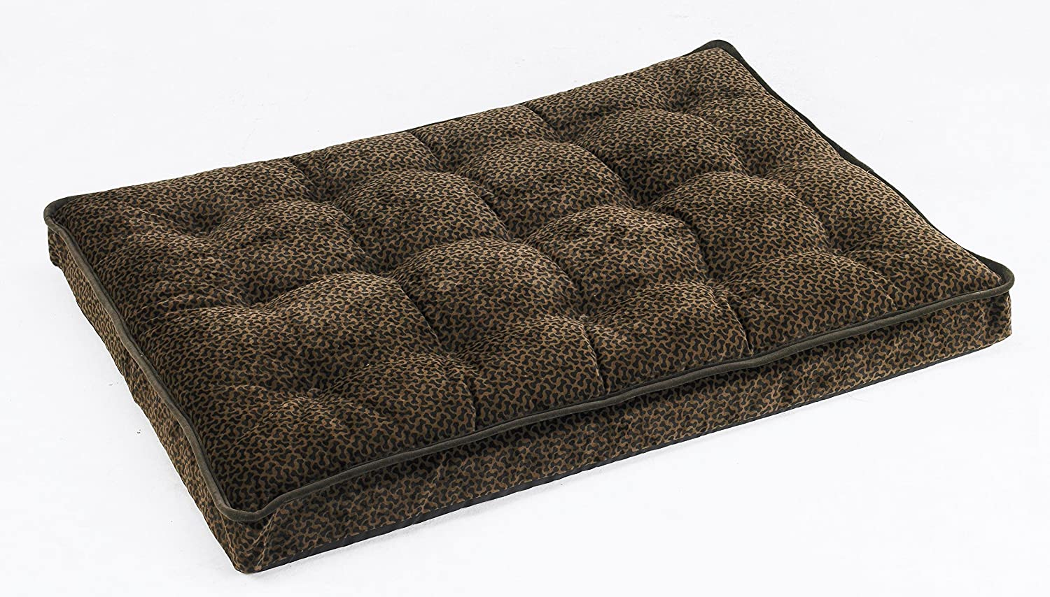 Bowsers Luxury Crate Mattress Dog Bed, Large, Chocolate Bones
