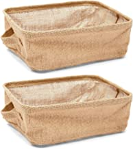 Juvale Collapsible Storage Bin Basket - 2 Pack - Fabric Linen Cloth Storage Basket with Handles - Perfect for Underbed, Ma...