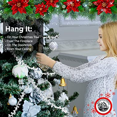 NorthPoleXpress 9 Foot Silver & Clear Crystal Acrylic Bead Christmas Garland   Iridescent Christmas Tree Garland Perfect