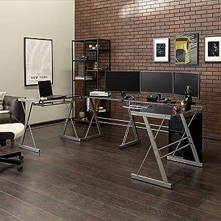 WE Furniture U-shaped Glass top metal Gaming Desk Station, Set of 2, Smoke/Silver