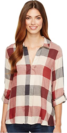 B Collection by Bobeau - Woven Plaid Blouse