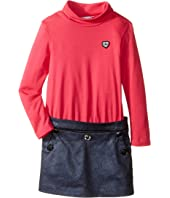 Little Marc Jacobs - Bi Material Turtleneck Dress with Cabochons Details (Toddler/Little Kids)