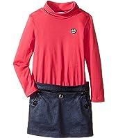 Little Marc Jacobs - Bi Material Turtleneck Dress with Cabochons Details (Toddler/Little Kids)