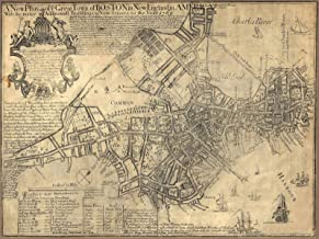 Historic Pictoric Map - Revolutionary War Maps of Boston and Massachusetts, 1769 - Antique Vintage Decor Poster Wall Art Reproduction - 24in x 18in