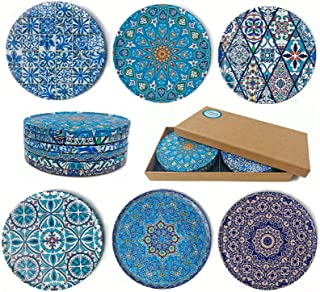 Totally Turkish Drink Coasters Set of 6 - Unique Mediterranean Design Coaster Set for Table Rustic Coasters with Non-Slip ...