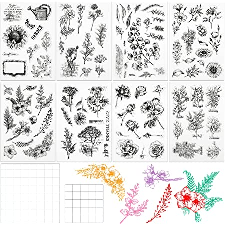 7 Pieces Flower Series Clear Stamp Leaves Flowers Silicone Clear Stamps and 2 Pieces Acrylic Stamp Blocks Tools with Grid Lines for Card Making Decor DIY Scrapbooking