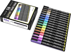 TOOLI-ART 16 Glitter Paint Pens Assorted Colors Set 0.7mm Extra Fine Tip for Rock, Canvas, Mugs, Most Surfaces. Non Toxic,...