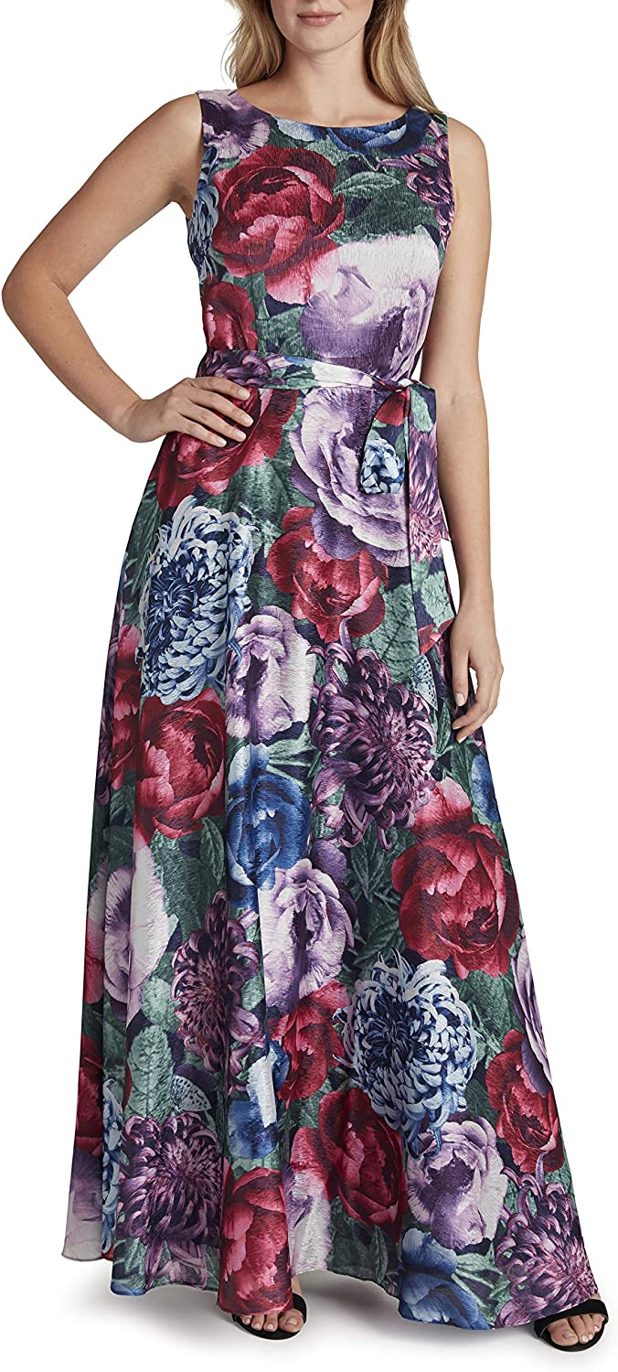 Tahari ASL Women's Sleeveless Floral V-Back Gown Challenge the lowest price of Japan Dallas Mall ☆ Print