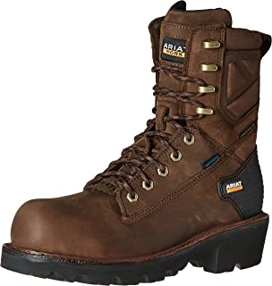 """Ariat Men's Powerline 8"""" H2O Composite Toe Work Boot, Oily Distressed Brown, 9.5 2E US"""