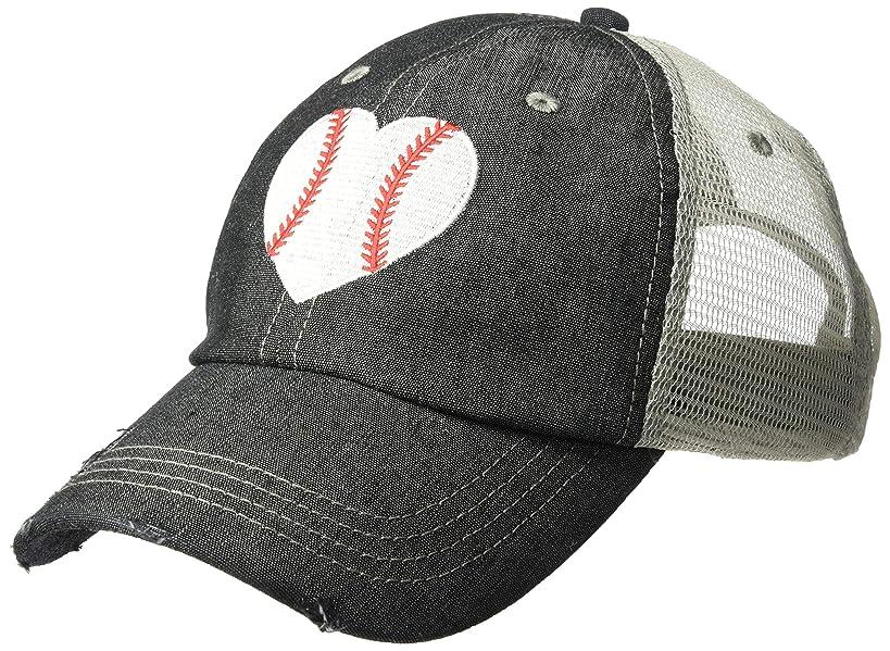 Cocomo Soul Embroidered Baseball Heart Baseball Mom Baseball Mom Mesh Trucker Style Hat Cap Dark Grey