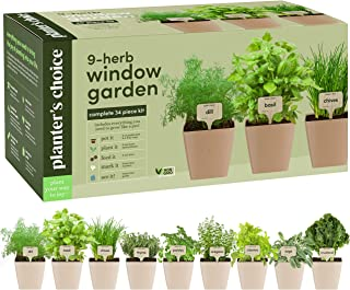 9 Herb Window Garden - Indoor Herb Growing Kit - Kitchen Windowsill Starter Kit - Easily Grow 9 Herbs Plants from Seeds wi...