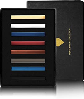Yadoca 8 Pcs Tie Clips Set for Men Tie Bar Clip Set Wedding Business Professional Fashion Assorted Designs Regular Skinny Necktie Clip with Gift Box