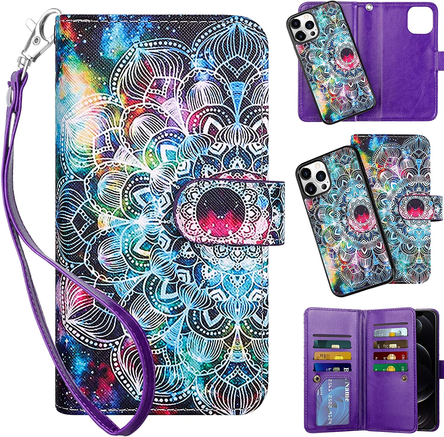 Vofolen Compatible with iPhone 12 Pro Max Case 5G Wallet Cover 2-in-1 Credit Card Holder Slot Detachable Protective Slim Hard Shell Magnetic Leather Folio Pocket Flip Case Mandala Purple