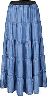 Tronjori Womens A Line Long Lightweight Tencel Denim Tiered Skirt with Multi Layers