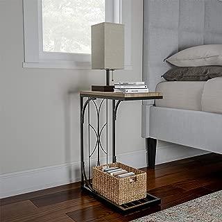 Lavish Home Sofa Side C Shaped End Table, Black
