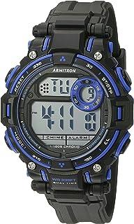 ساعة Armtron Sport للجنسين 45/7066BLU زرقاء مزخرفة رقمية كرونوغراف غير لامعة بسوار من الراتنج