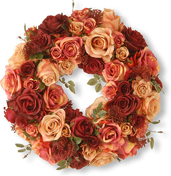 National Tree 15 5 Inch Mixed Roses And Skimmia Wreath RAV WL80693 1