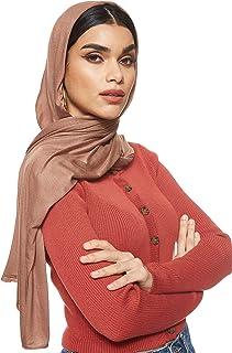 شادو جيرسي تمدد الشلة الحجاب الإسلامي العربي وشاح الحجاب عباية شال أوشحة ناعمة، مقاس واحد - 65 × 165 سم