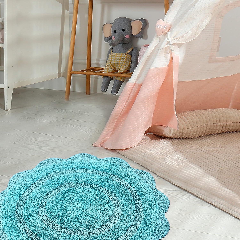 Buy CHARDIN HOME   Crochet Bathroom Rug Aqua Blue   20 Inches ...