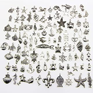 Ginooars 100 Pieces Wholesale Vintage Color Ocean and Sea Fish and Other Animal Mix Size Charms DIY Pendant