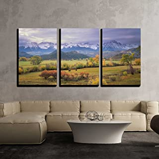 wall26 - 3 Piece Canvas Wall Art - on a Rare Overcast Morning in Southwest Colorado on a Rancher - Modern Home Decor Stretched and Framed Ready to Hang - 24