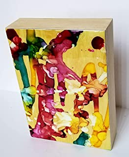 alcohol ink on wood