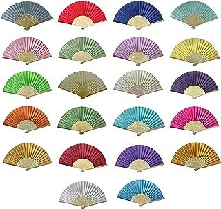 Großhandel Packung von 10 Mix Farben Silk Stoff Hand Fans Ideal Hochzeitsfeier Party Favor