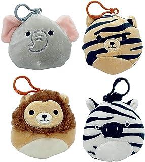 "Squishmallow Kellytoy Jungle Animal (Set 4 ) Lion Tiger Zebra Elephant 3.5"" Clip Ons Keychain"
