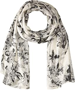 Airy Floral Liquid Lurex Scarf