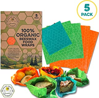 HoneyBella's Organic Beeswax Food Wrap 5 Pack - Eco Friendly, Plastic-Free and Sustainable Food Wrap - Reusable Food Storage Solution Better Than Cling Wrap - 2 Large, 2 Medium, 1 Small