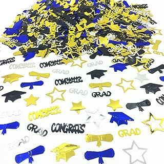 Graduation Decoration Confetti for Grad Party 1.1 oz-Congrats, Grad, Star, Graduation Cap, Diploma Gold, Black, Silver,Blue Mix Color