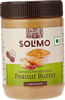 Amazon Brand - Solimo Natural Unsweetened Peanut Butter , Crunchy, 500 g