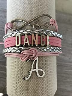 Personalized Dance Infinity Bracelet with Initial Charm- Girls Dance Jewelry - Perfect Gift For Dance Recitals & Dancers