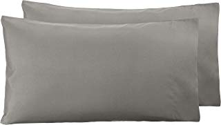 AmazonBasics - Funda de almohada de microfibra, 2 unidades, 50 x 80 cm - Gris topo