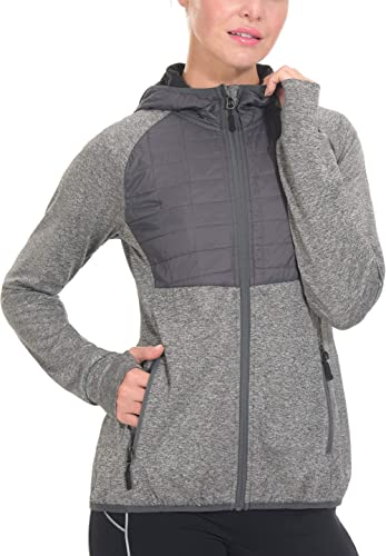 Little Donkey Andy Women's Lightweight Thermal Running Jacket Hooded Sports Track Jacket Quick Dry with Thumb Holes