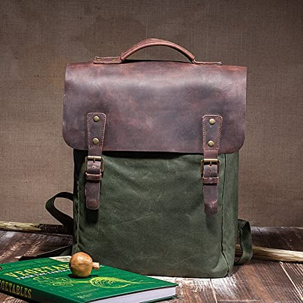 Classic Handmade Waxed Canvas Flap Backpack With Natural Leather Cover - High  Quality Laptop Rucksack With afcd19384f66a