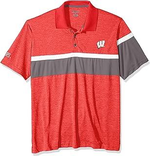 NCAA Wisconsin Badgers Mens NCAA Men's Short Sleeve Striped Polo Collared Teechampion NCAA Men's Short Sleeve Striped Polo Collared Tee, Athletic Red, XX-Large